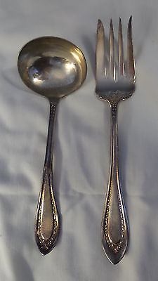 Vintage EXTRA COIN SILVER PLATE Oneida SERVING FORK & SAUCE,GRAVY LADLE Garland