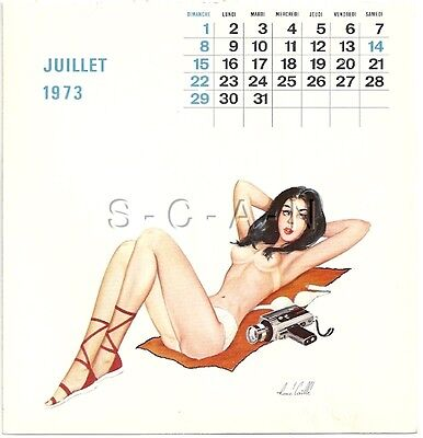 Org Vintage French Semi Nude Pinup Calendar PC- René Caille- Camera- Jul 1973