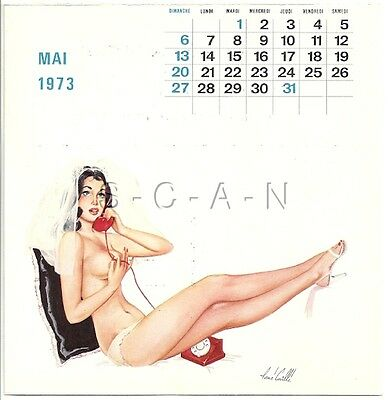 Vintage French Semi Nude Pinup Calendar PC- René Caille- Endowed Bride- May 1973