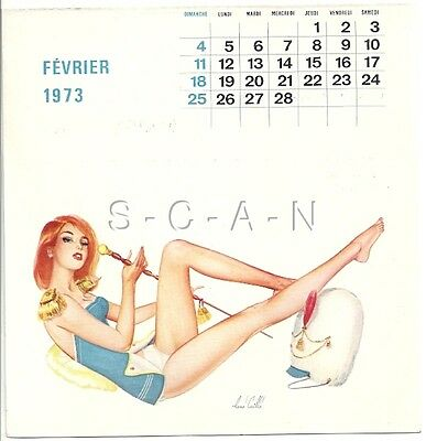 Org Vintage French Semi Nude Pinup Calendar PC- René Caille- Drum Major- Feb 73