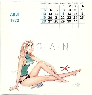 Org Vintage French Semi Nude Pinup Calendar PC- René Caille- Swimsuit- Aug 1973