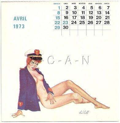 Vintage French Semi Nude Pinup Calendar PC- René Caille- Navy Officer- Apr 1973