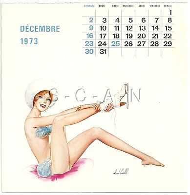 Org Vintage French Semi Nude Pinup Calendar PC- René Caille- Ice Skater- Dec 73