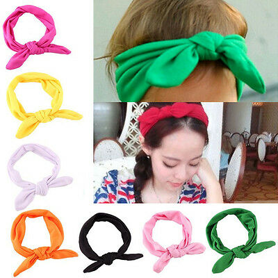 Women/Baby Girl Elastic Bow Hairband Turban Knotted Rabbit Hair Band Headband