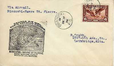 CANADA 1ers vols first flights airmail 107