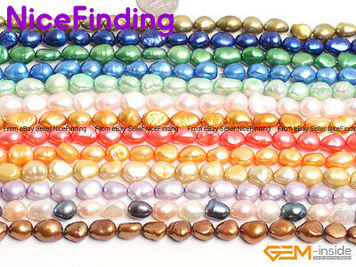 "8-9mm Freshwater Pearl Beads Lot For Jewellery Making Gemstone 15"" Free Shipping"