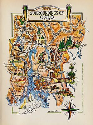 Charming OSLO Norway Map Scandinavia Fun Artistic Pictorial Map Sca 2626