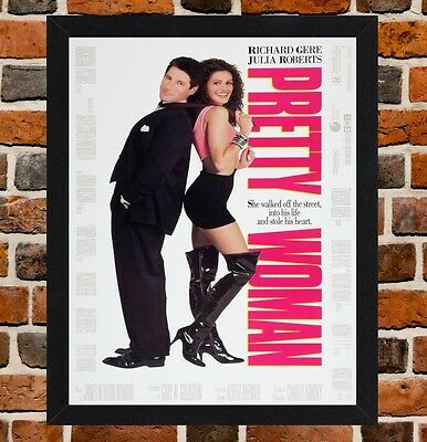 Framed Pretty Woman Movie Poster A4 / A3 Size In Black / White Frame.