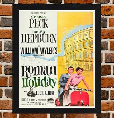 Framed Roman Holiday Movie Poster A4 / A3 Size Mounted In Black / White Frame