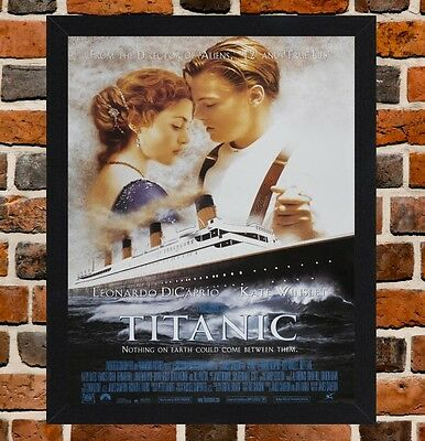 Framed Titanic Movie Poster A4 / A3 Size In Black / White Frame.