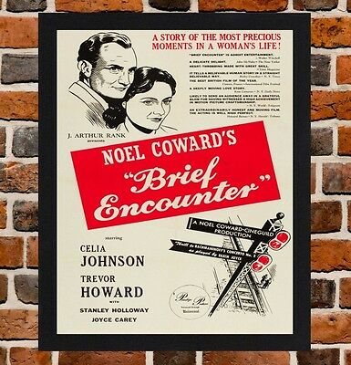 Framed Brief Encounter Movie Poster A4 / A3 Size In Black / White Frame -