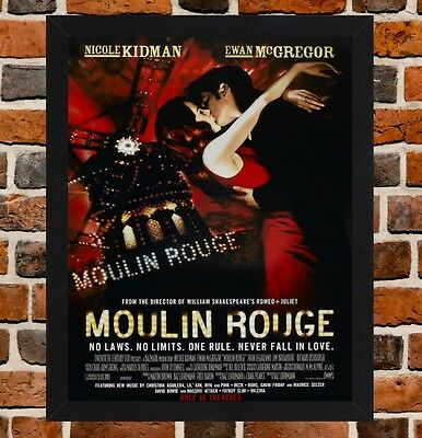 Framed Moulin Rouge Movie Poster A4 / A3 Size In Black / White Frame