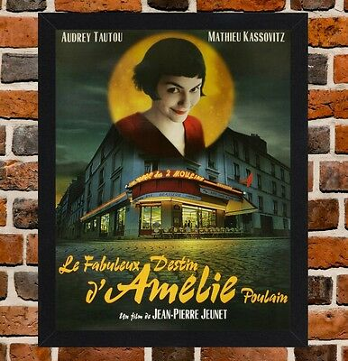 Framed Amelie French Movie Poster A4 / A3 Size In Black / White Frame