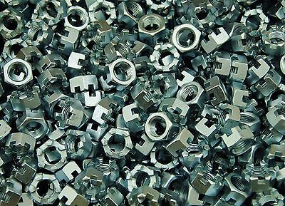 (150) Slotted Hex Castle Nuts 1/2-20 Fine Thread Zinc Plated