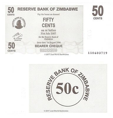 Zimbabwe 50 Cents 2006 P-36 First Prefix 'AA' Banknotes UNC