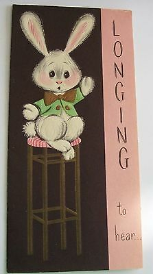 Vintage Unused Mid Century Card - Easter Bunny Longing to Hear