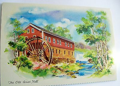 Vintage Unused Mid Century Card - Quaint Shop Original OLD GRIST MILL
