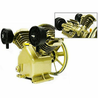 Twin Cylinder V Air Compressor Pump 3HP 2 Piston Motor Head Tool Muffler pulley