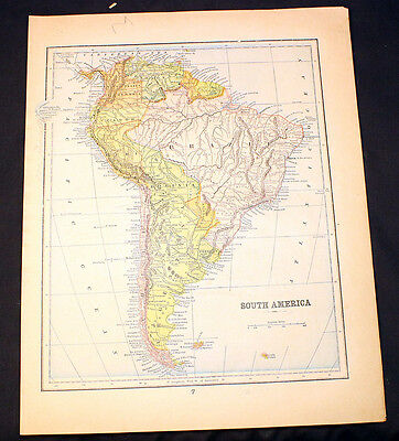 Antique Map Peerless Atlas 1899 South America or Polar Regions Artic Discoveries