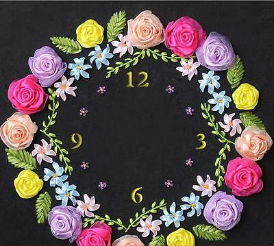 Ribbon Embroidery Kit Rose Clock Face with Clock Movement Needlework RE3063
