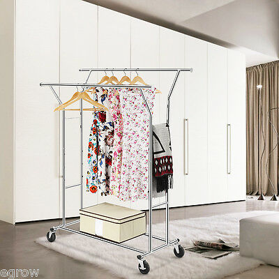 Heavy Duty Commercial Grade Clothing Garment Rolling Collapsible Drying Rack