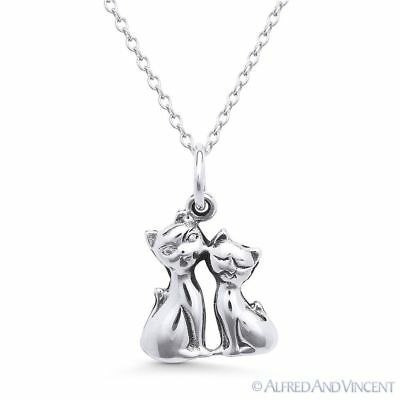Cat Couple Love Charm .925 Sterling Silver Animal Pendant & Cable Chain Necklace