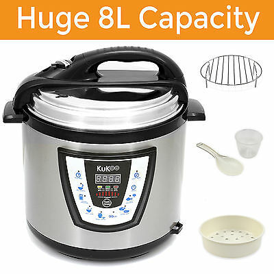 8 LITRE Electric Pressure Cooker 10 in 1 Rice Cooking Pot Digital Slow Cooker