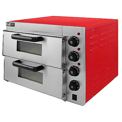 "Electric Pizza Oven 2 x 16"" Twin Deck Commercial Baking Oven Fire Stone Catering"