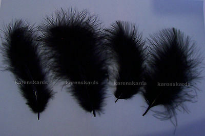 20 Feathers BLACK Soft and Fluffy Marabou - Weddings, Crafts, Cakes, Costumes
