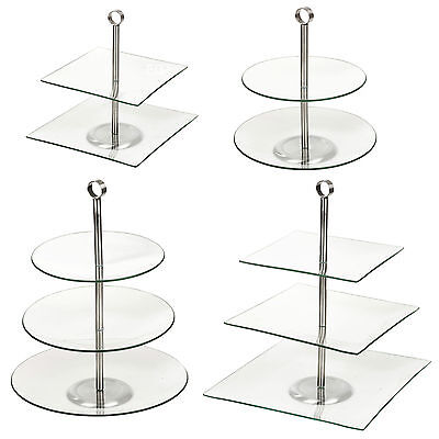 2, 3 Tiered Glass Round Square Serving Display Cakes Food Stand Wedding Plate