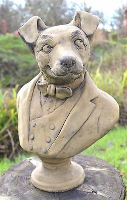 """Funny Dog Terrier stone ornament bust original design Lord Russell 41cm/16""""H"""