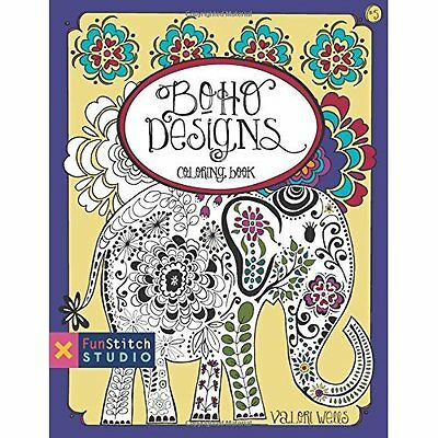 Boho Designs Coloring Book: 18 Fun Designs + See How Co - Paperback NEW Valori W