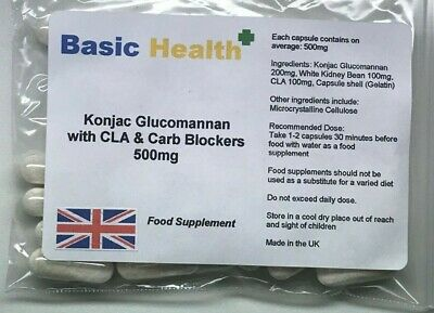 Konjac Glucomannan x 120 With Carb blockers and CLA Weight loss Slimming Diet