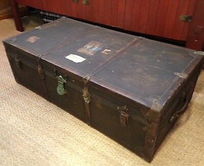 Herkert and Meisel Steamer Vaudeville Shabby Chic Trunk  Flat Top Trunk