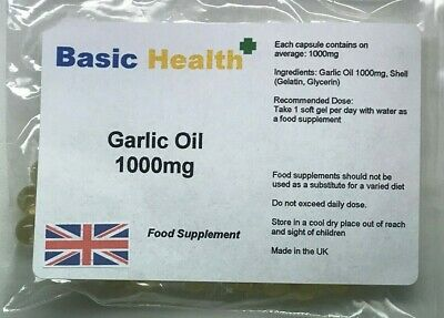 Garlic Oil Soft Gels x 60 1000mg Strong Odourless Cholesterol Heart Circulation