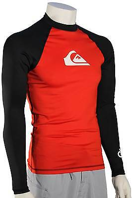 Quiksilver All Time LS Rash Guard - Red / Black / White - New