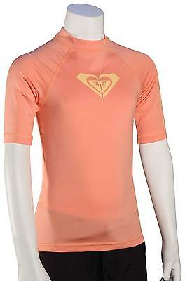 Roxy Girl's Whole Hearted SS Rash Guard - Sunkissed Coral - New