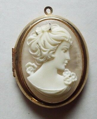 Antique Large Gold Filled White CAMEO LOCKET Necklace PENDANT Double Photo