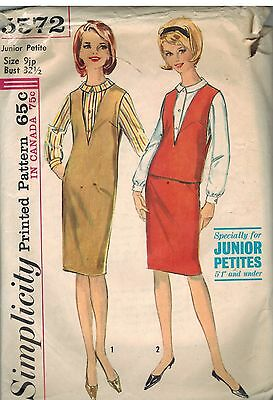 5572 Vintage Simplicity Sewing Pattern Junior Petite Jumper Top Blouse Skirt 9JP