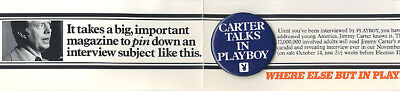 1976 Jimmy CARTER TALKS in PLAYBOY Interview Promo Button ~ Orig. Card (2443)