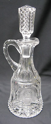 Vintage Pressed Glass Wheel Cut Floral Vinegar Cruet Bottle with Stopper