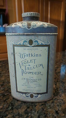 Antique WATKINS VIOLET TALCUM POWDER TIN 5 1/4""