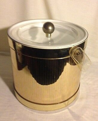 Georges Brtard Gold Tone Ice Bucket Lucite Handle and Tongs (L24XB6)