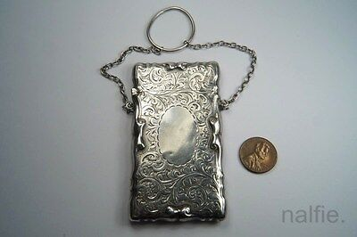 ANTIQUE EDWARDIAN ENGLISH STERLING SILVER LADIES CARD CASE c1914