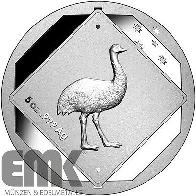 "Australien ""Emu - Road Sign (.3)"" 10 Dollar 2015 - 5 Oz. Silber stgl."