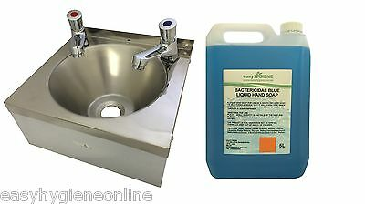SINK +5L Blue & PAIR PUSH TAPS Stainless Steel HAND WASH BASIN Waste Plug & Trap