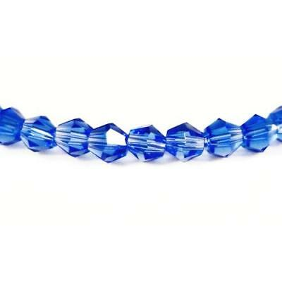 Strand 60+ Blue Czech Crystal Glass 5mm Faceted Bicone Beads GB8638-3