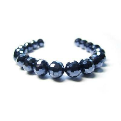Strand Of 70+ Blue/Black Czech Crystal Glass 8mm Faceted Round Beads GC12405-2