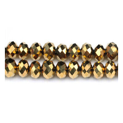 Czech Crystal Glass Faceted Rondelle Beads 6 x 8mm Golden 70+ Pcs DIY Jewellery
