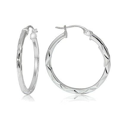 "Sterling Silver Diamond-Cut .6"" Small Square Hoop Earrings"